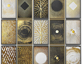 3D Collection of paintings with gold for walls 8
