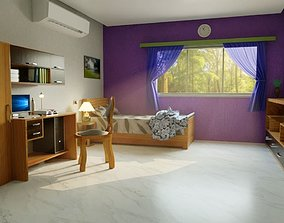 3D asset Fully furnished room interior model