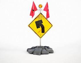 Turn Left Yellow Street Sign 3D