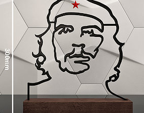 3D printable model Che Guevara contour sculpture
