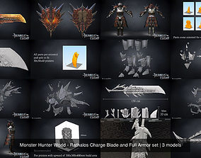 3D Monster Hunter World - Rathalos Charge Blade and Full 1