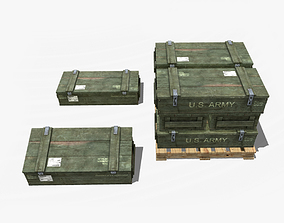 3D asset low-poly Military Crate