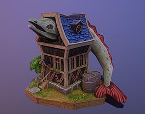 fantasy house 3D model game-ready