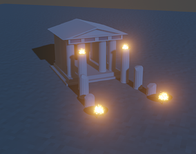 3D model Greek-style temple Low Poly