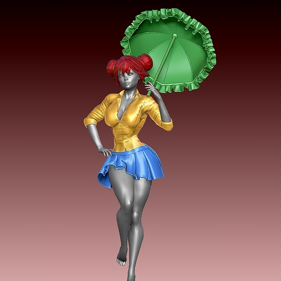 Beautiful girl with umbrella stands 3D model