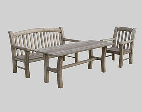 3D model Outdoor furniture - aged wood