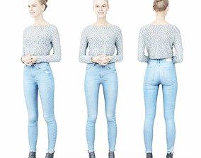 3D asset Jeans Girl in Fluffy White Top Folding Hands