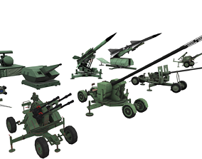 3D military Package ZPU Rocket Launcher Missile realtime 2