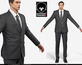 3D asset Business man in a black Suit Game Assests 2