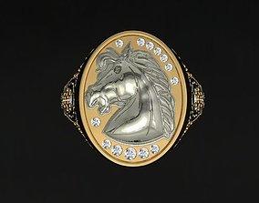 3D printable model stone Horse Ring