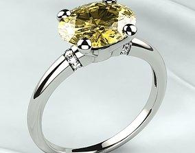 Oval Citrine Fashion Gold Ring 3D print model