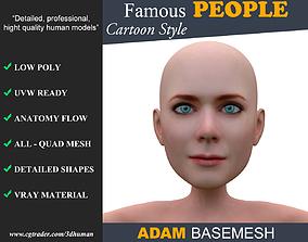 Low poly Character Cartoon Basemesh - Adam 3D model