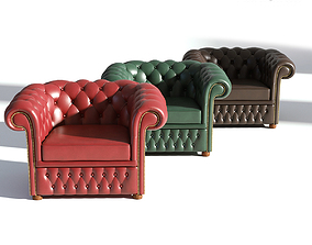 3D Chesterfield Armchair - Brown Green Red