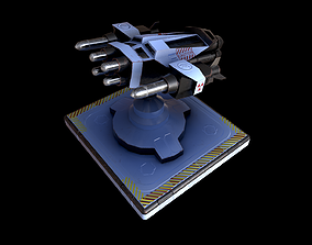 3D model VR / AR ready pbr missile turret