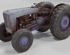Old Tractor low poly 3D asset