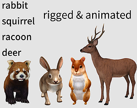 deer buck racoon palm squirrel hare rabbit 3D model