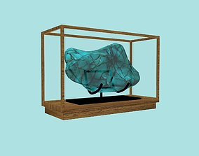 Small showcase with blue gemstone 3D asset