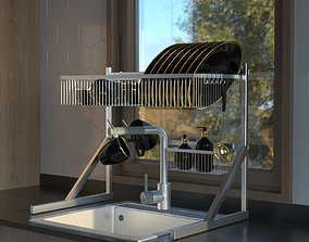 dish dryer with tableware 3D model