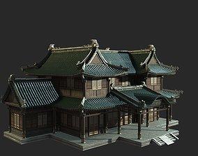 3D asset Urban house construction buildings in ancient 1