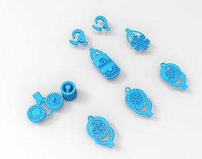 Nice charms set for bracelet or for using 3D print model 2