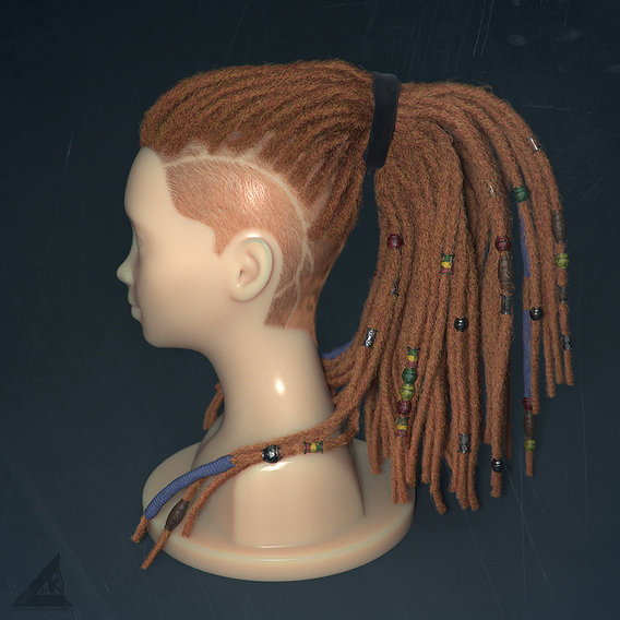 Ornatrix dreadlocks in Vray.