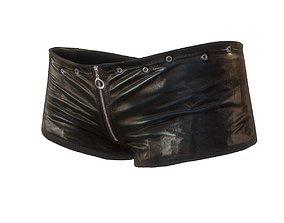 Mini shorts in black leather 3D model