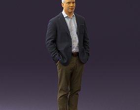 Man inblue jacket brown pants 0410 3D Print ready