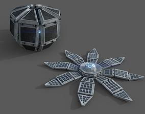 3D model Solar Power Plant Building Panel - animated - 2