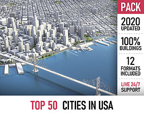 TOP 50 cities in USA 3D model