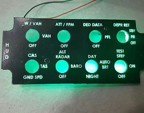 3D print model f-16 HUD panel with back-light
