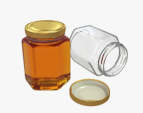 Honey in a glass hexagon jar 3D