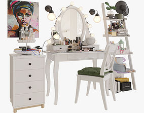 MakeUp Ikea Hemnes big set cream 3D model