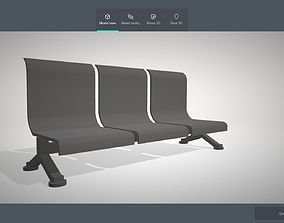 3D model metal rusted bench