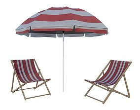 beach sun lounger and umbrella 3D model