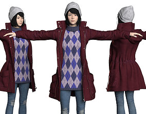 3D model Asian girls in winter clothes cartoon