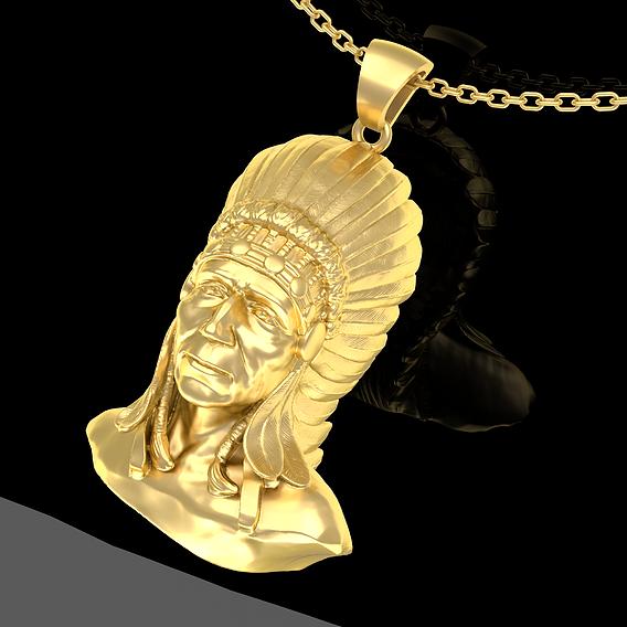 Indian man Pendant Jewelry Gold 3D print model