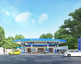 animated Gas station 3d exterior