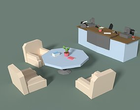 Low Poly Cartoony Office Reception 3D model