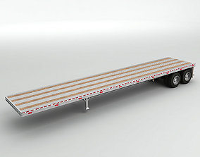 Flatbed Trailer For Semi Truck 3D model