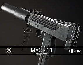 3D asset PBR MAC-10 and Suppressor