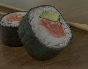 Sushi Rolls and Chopsticks 3D model