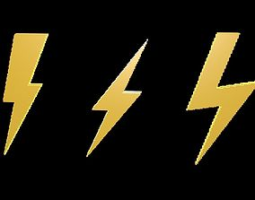 3D model Thunder symbols voxel 4