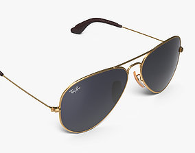 3D model Classic Sunglasses Ray Ban Aviator Blue