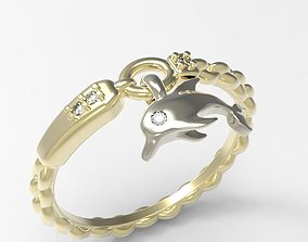 3D print model Ring Happy dolphin