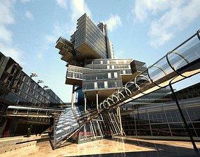 Stylish Central Shopping Centre Scene 3D model