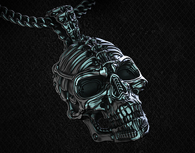 Biomechanical Skull Pendant Silencer with 3D print model 1