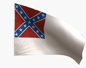 US Flag 2nd National Confederate 3D model