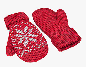 Knitted wool mittens 3D