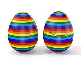 3D model game-ready Easter Egg Cracked N002