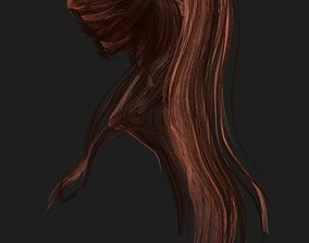 3D model low-poly Woman hairstyle blonde